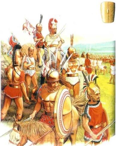 Ilustración de los romanos siendo subyugados.