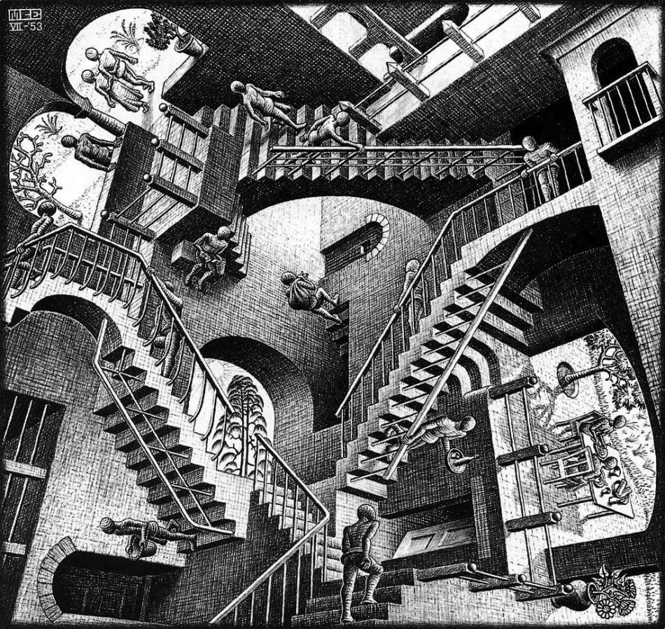 Ascendiendo y descendiendo, ilustración por Escher.