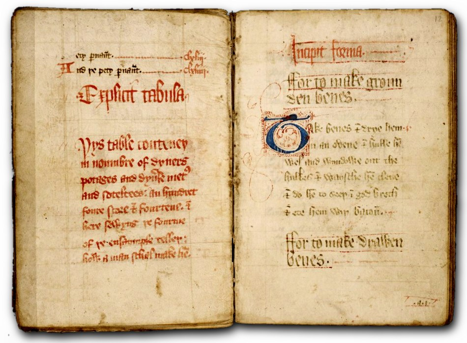 Página de The forme of Cury, el primer libro de cocina.