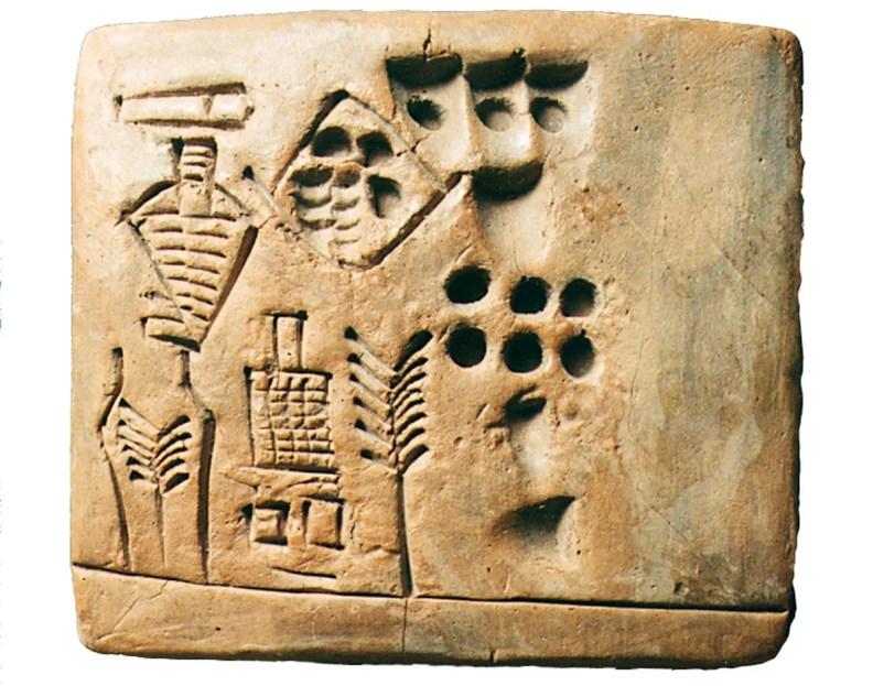 Fotografía de una tableta de arcilla sumeria.