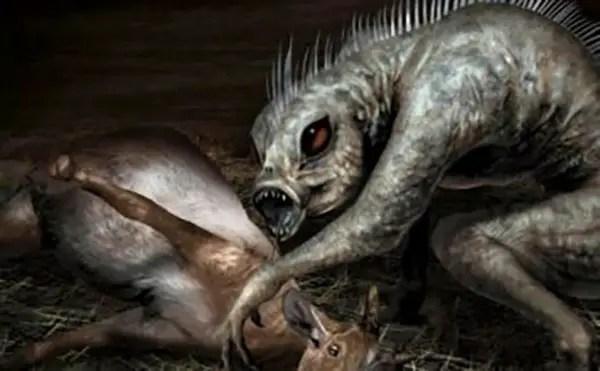 Ilustración del chupacabras.