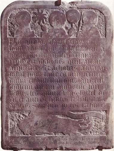Fotografía de la tumba de Nicolas Flamel.