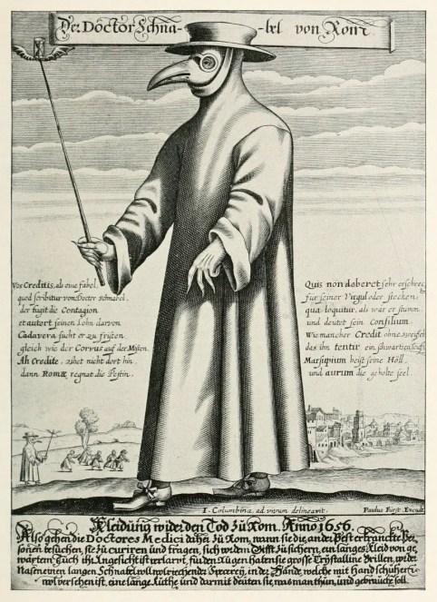 Ilustración de un médico renacentista utilizando una de las máscaras antiplaga.