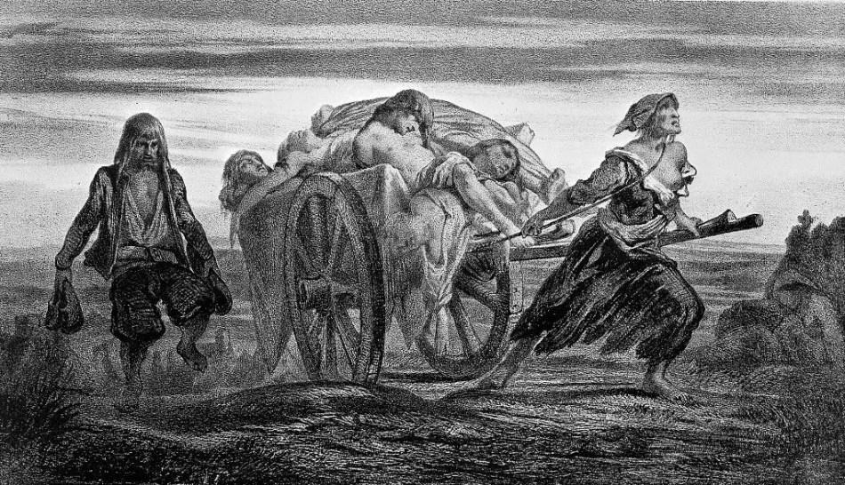 Ilustración antigua sobre victimas de la plaga.