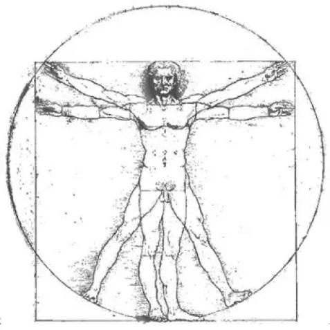 Ilustración del Hombre de Vitruvio.