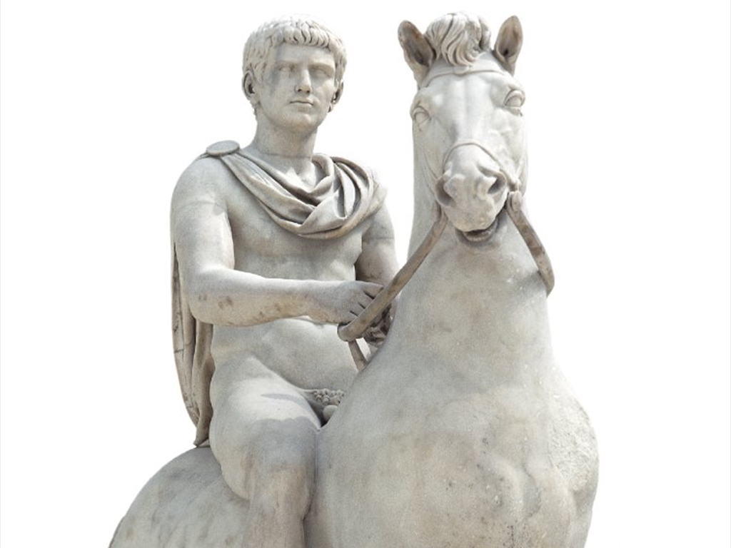 Estatua en piedra de Caligula e Incinatus.
