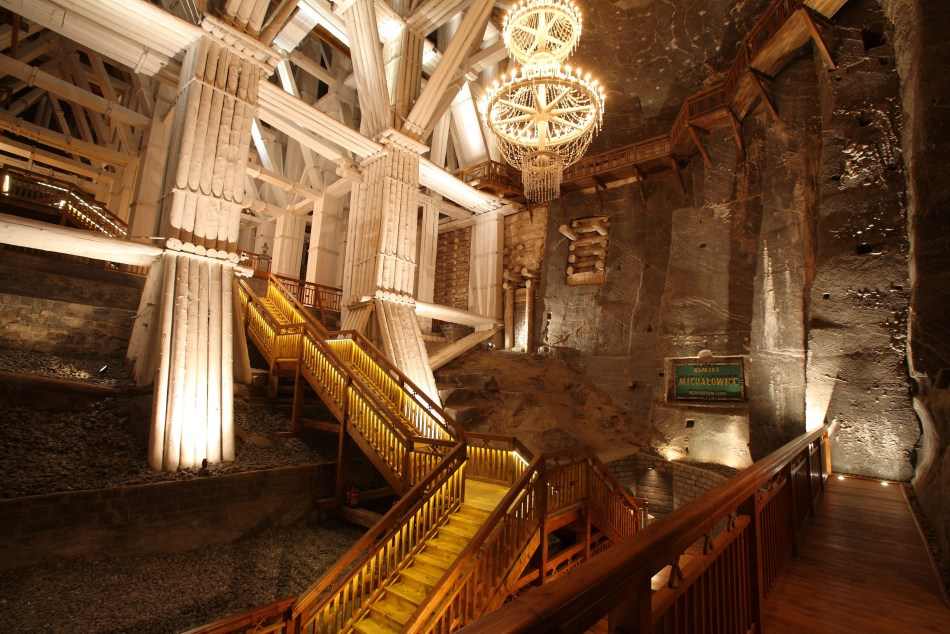 Fotografía del interior de las minas de sal polacas.