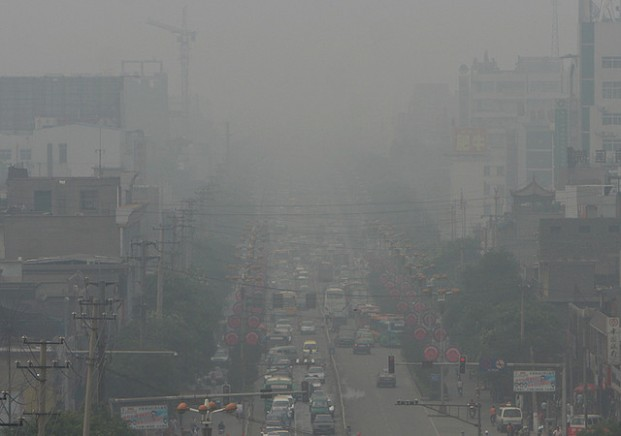 Fotografía de la polución en polución en Linfen.