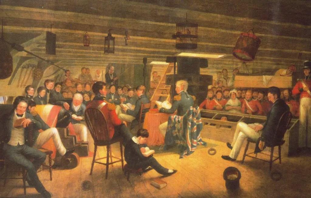 Pintura de la tripulación del HMS Beagle.