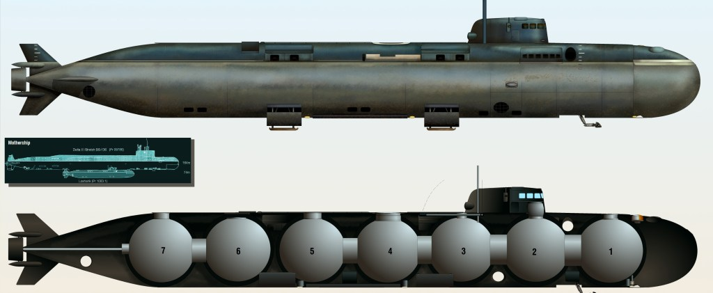 Esquema de un submarino ruso AS-12
