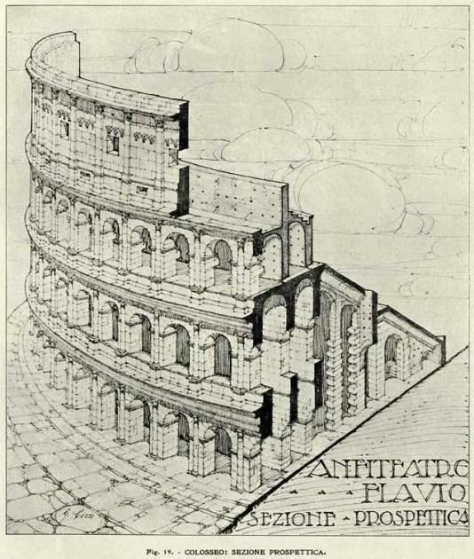 Ilustraicón técnica del coliseo romano.
