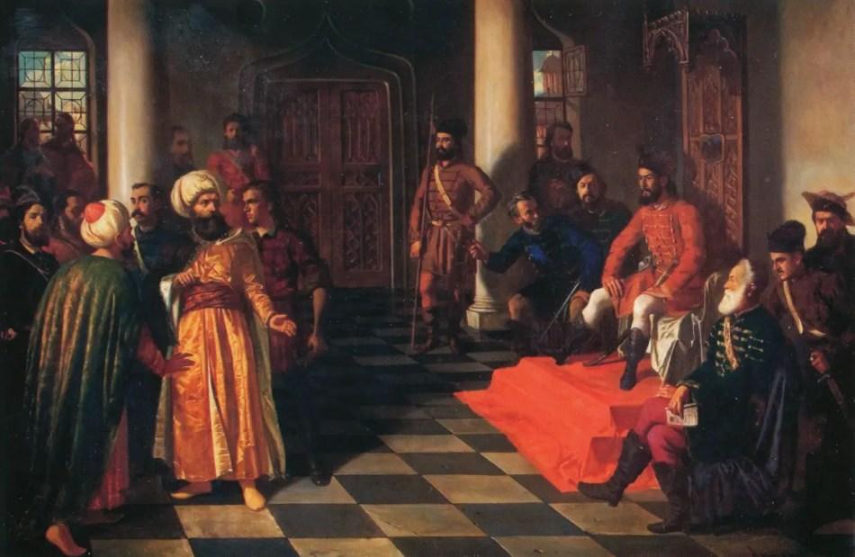 Pintura antigua mostrando una corte real.