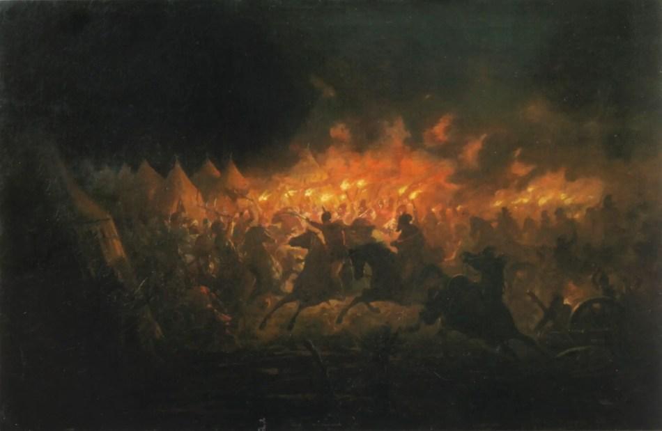 Pintura de una batalla medieval.