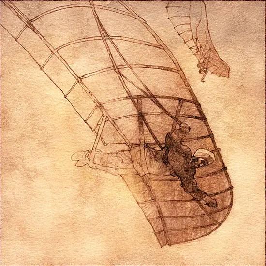 Ilustración de Abbás Ibn Firnás volando con su ala delta.
