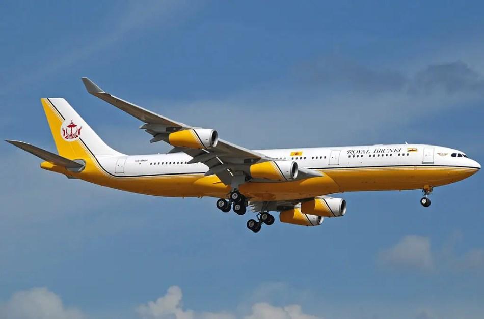 EL avión del sultán de Brunei en pleno vuelo.