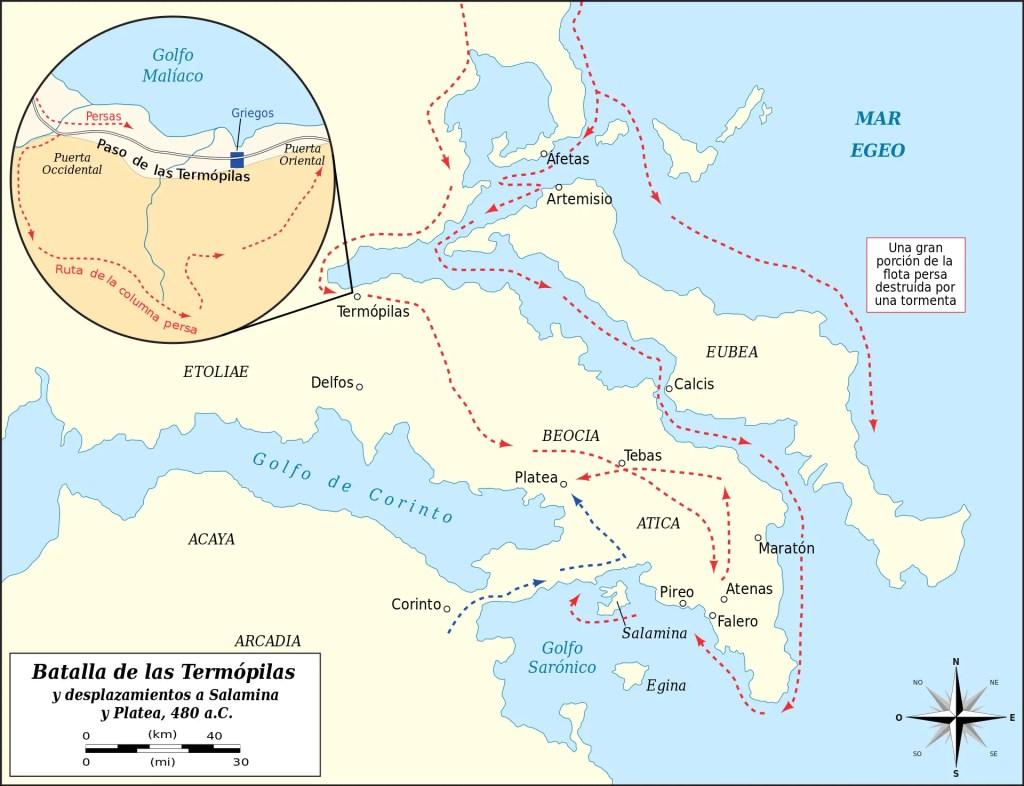 Mapa de la Batalla de Salamina.