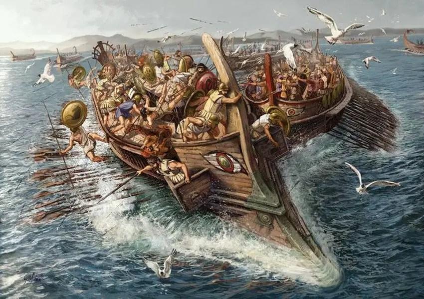 Batalla naval griega.
