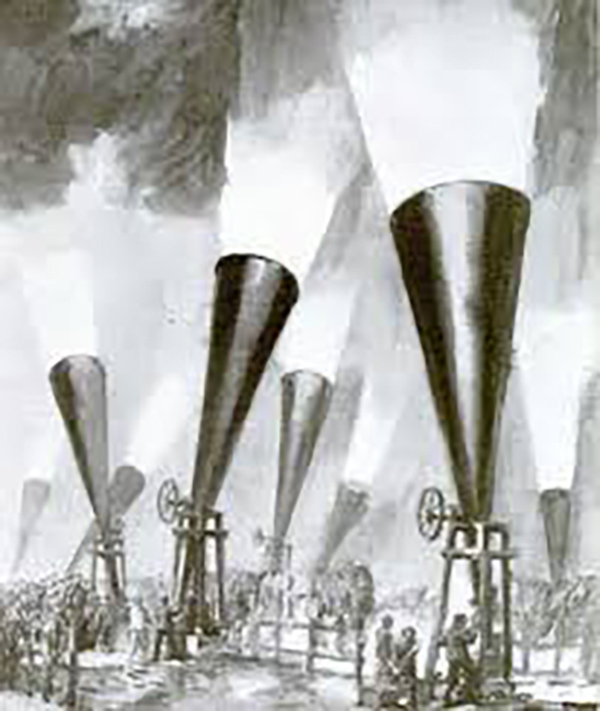 Ilustración de un conjunto de cañones granifugos en funcionamiento.