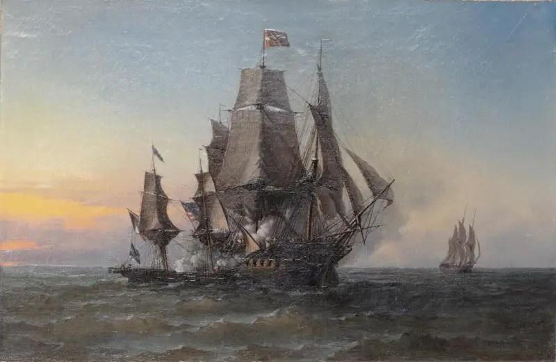 Pintura antigua de un combate naval entre dos embarcaciones.