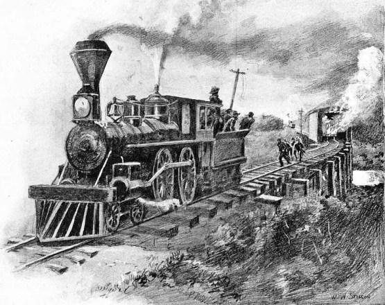Ilustración de la Gran persecusion en locomotora.