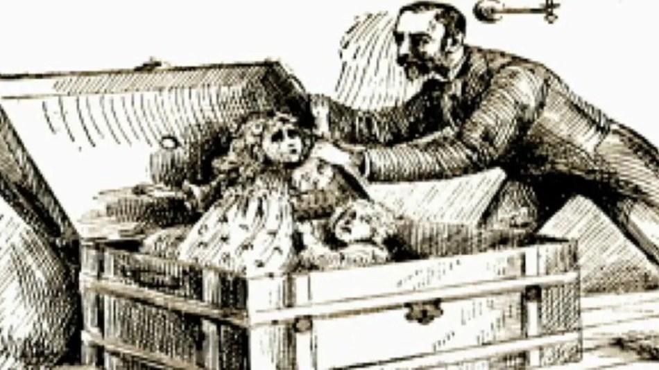 Ilustración de Holmes atrapando a sus victimas.