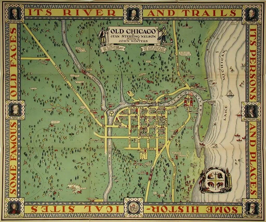 Mapa de la ciudad de Chicago en sus origenes.