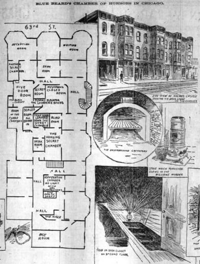 Plano de la mansión del terror de H.H. Holmes.