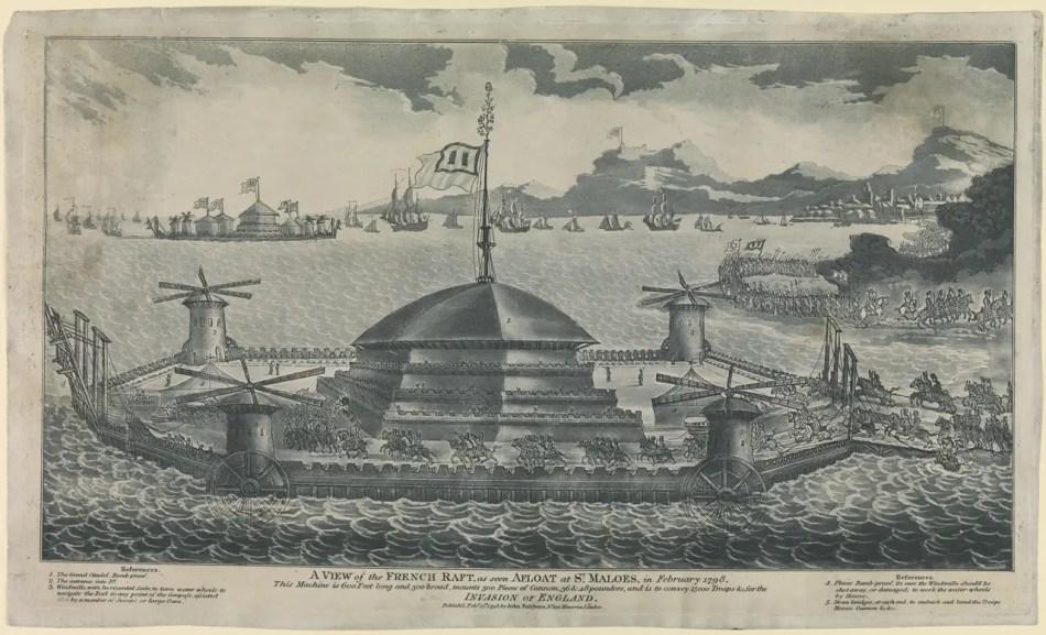 Ilustración de un enorme castillo flotante.