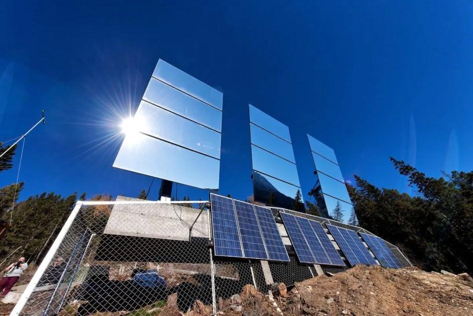 Detalle de los espejos solares de Rjukan. Estos espejos crean uno de los soles artificiales más efectivos en el mundo.