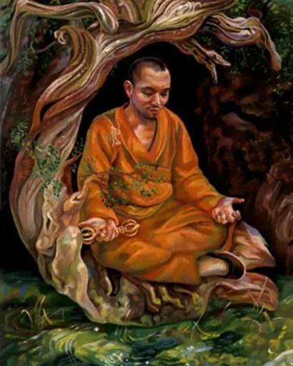 Ilustración de un monje Sokushinbutsu.