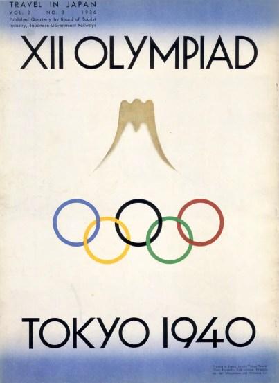 Afiche publicitario de la Olimpíada de 1940 en Tokio.