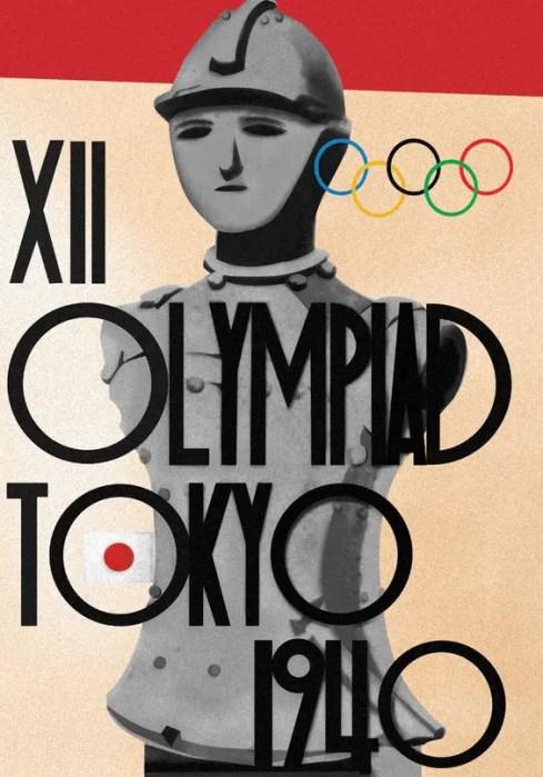 Afiche de los juegos de 1940 donde se ve le figura de un hombre.