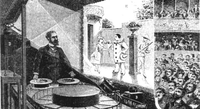 Ilustración de Charles-Émile Reynaud proyectando dibujos animados ante una audiencia.