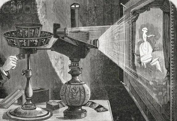 Ilustraicón de un praxinoscopio de proyección.