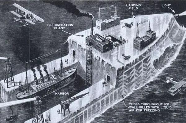 Ilustración del Habbakuk, portaaviones de hielo.