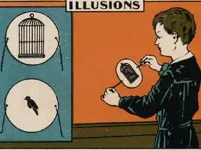 Ilustración publicitaria de un niño sosteniendo un taumatropo en sus manos.