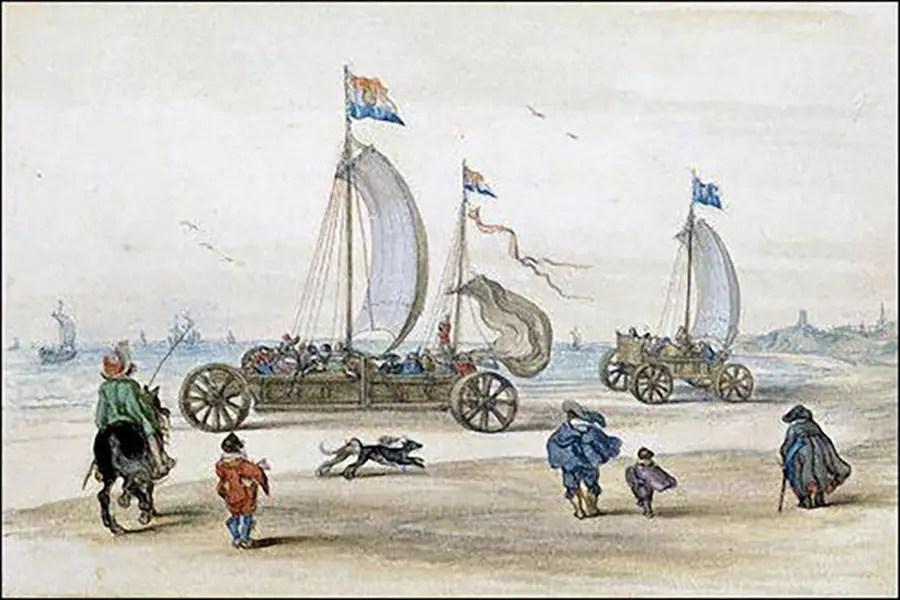 Ilustración de un velero de tierra.