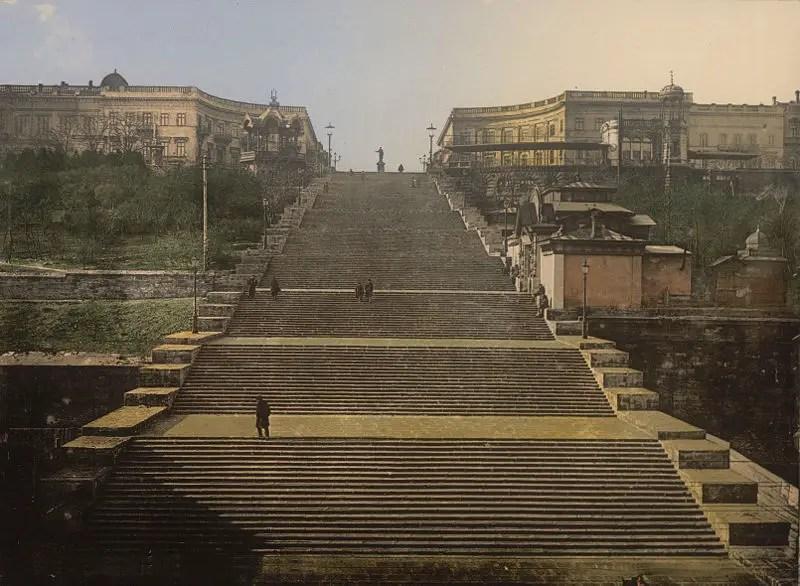Fotografía de principios de siglo de la escalera Potemkin.