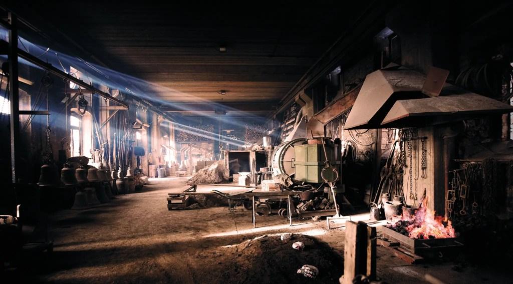 Interior del taller de trabajos y fundición de la Pontificia Fonderia Marinelli.