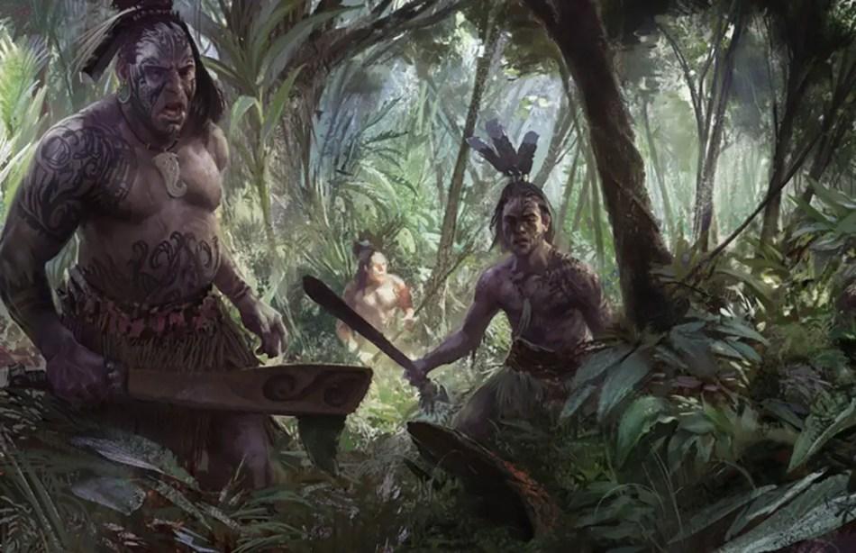 Ilustración de un grupo de guerreros maoríes en las junglas del pacífico.