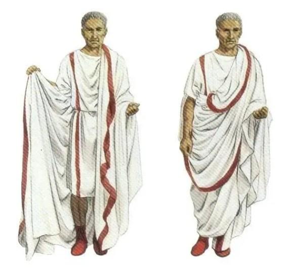Ilustración de un senador romano vistiendo su túnica y toga adornadas con clavi y los característicos zapatos (calcei) rojos de los senadores romanos.
