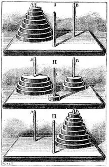 Ilustración antigua mostrando como se juegan las torres de Hanoi.