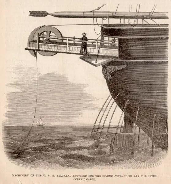 Ilustración demostrando como el primer cable transoceánico en la Historia era desplegado desde la popa del USS Niagara.