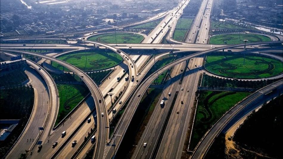 Fotografía de una red de autopistas China.