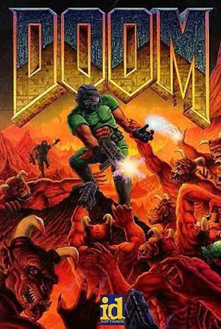 Arte de portada del clásico de los video juegos Doom. La historia del Doom.