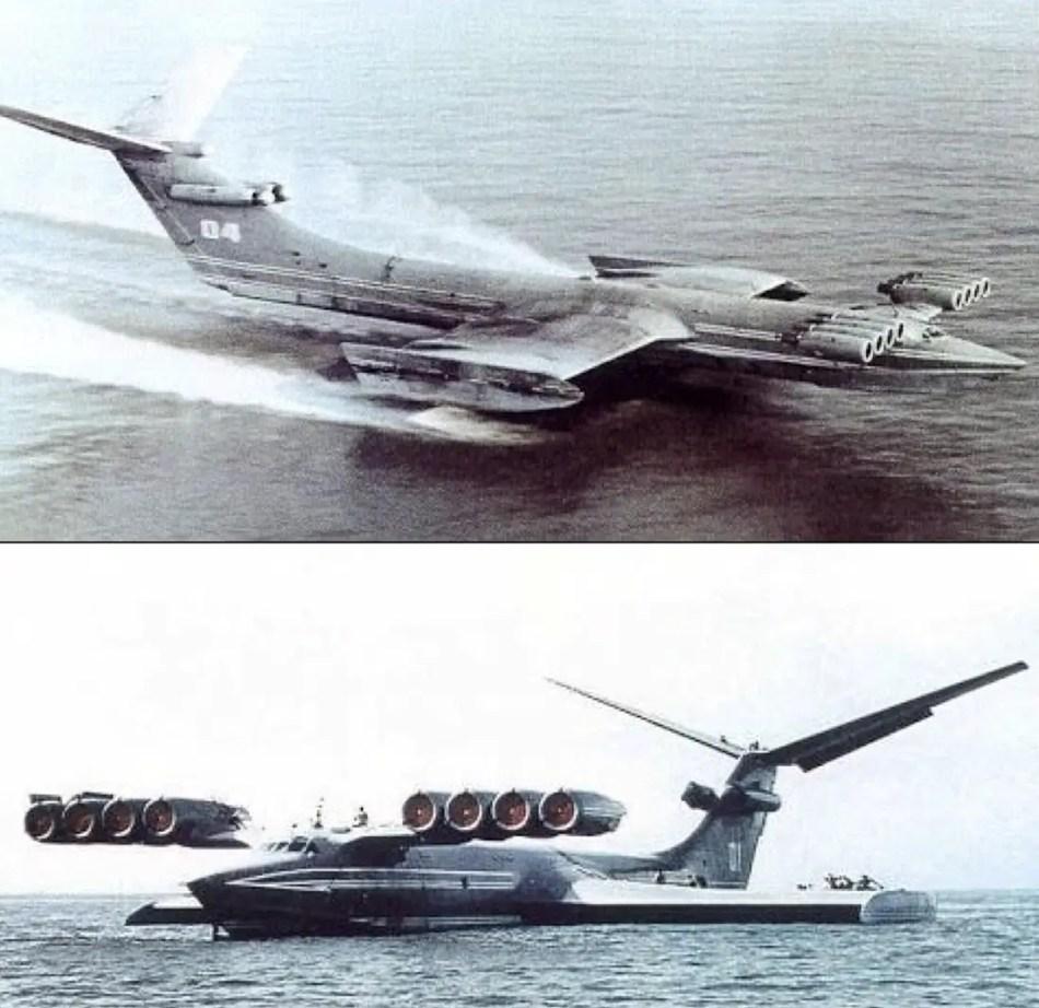 El ekranoplan en pleno vuelo y siendo reaporvisionado
