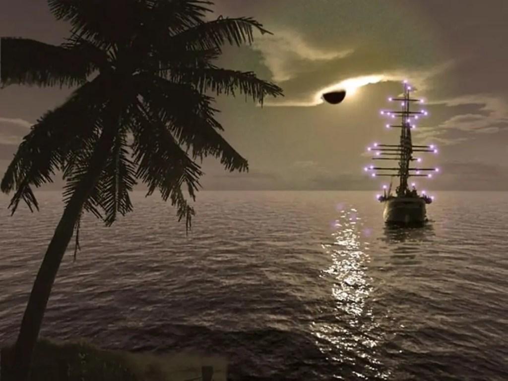 Representación por ordenador de un barco visto desde una isla presentando los efectos lumínicos del Fuego de San Telmo.