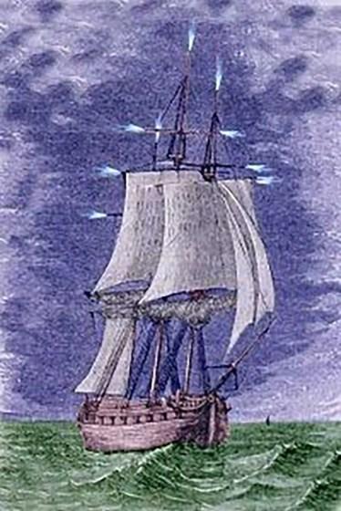 Representación del Fuego de San Telmo en los mástiles de un barco a vela.