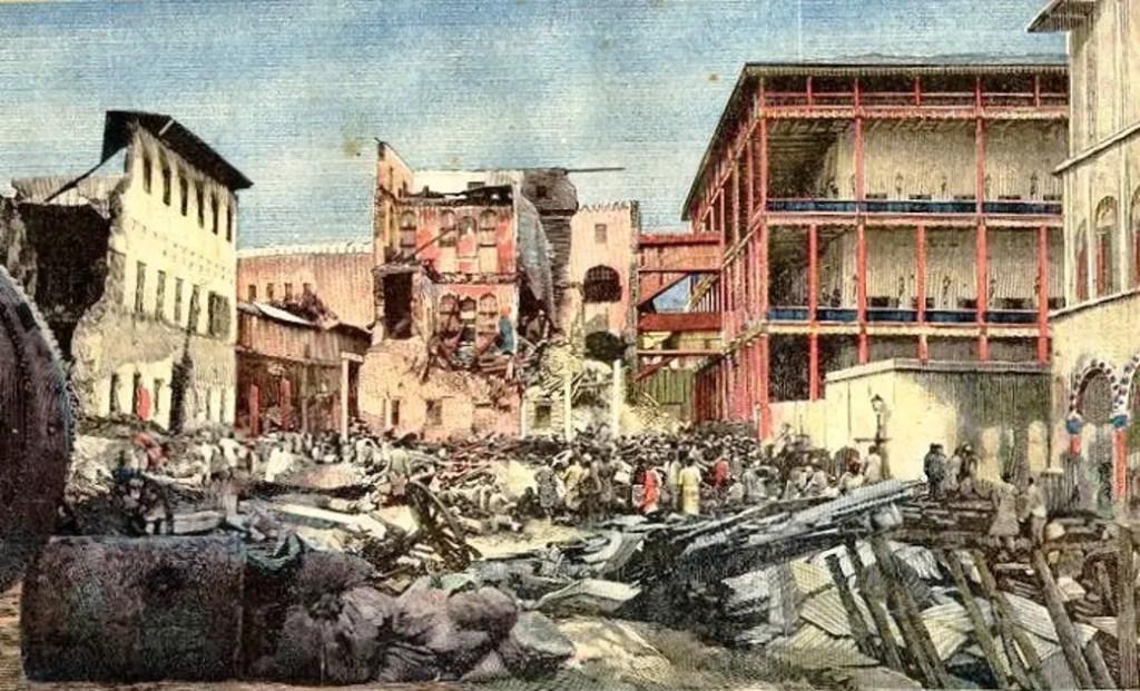 Destrucción del palacio de Zanzibar durante la guerra entre el Imperio Británico y Zanzibar. La guerra más corta de la historia.