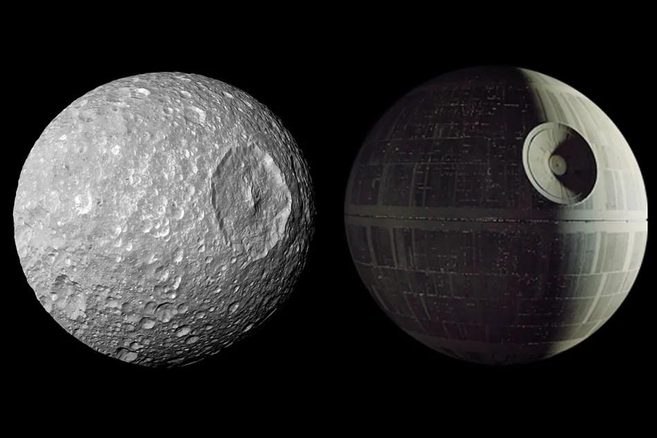 Comparación de la Mimas, una de las lunas de Saturno, con la Estrella de la muerte.